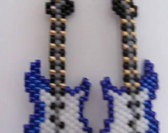 Hand beaded Blue Guitar dangling earrings