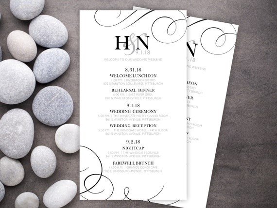 Wedding itineraries 25 wedding schedule cards ceremony cards il570xn junglespirit Images