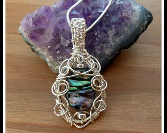 Abalone Shell Pendant, wire wrapped in Sterling Silver with chain