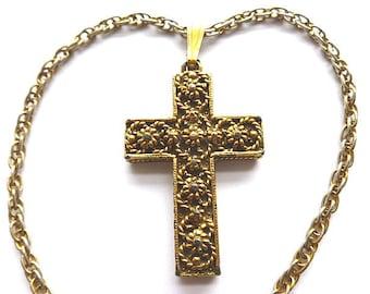 1960s GOLDPLATED  OPENWORK Cross, Gold Filigree Cross Pendant, Gold Cross & Double Link Neck Chain, Goldtone Cross Necklace, Goldtone Cross