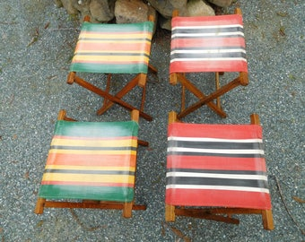"Vintage 1950's Wood Folding Camping Stools ""Set of Four""  with Original Stripe Cotton Fabric  Rare  Set of 4"