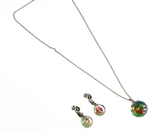 Crystal Ball Necklace and Earrings Set, Prism, Rainbow, Sterling Silver