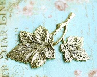 30%OFF SALE Leaf stamping, Antique gold, two leaves, brass stamping, leaf pendant, leaf charm, 45mm - 1Pc - F083