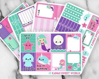 Kawaii Mermaid Sticker Set | Erin Condren Planner Stickers