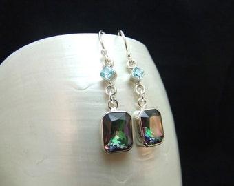 Mystic Topaz and Blue Topaz Sterling Silver Handmade Earrings