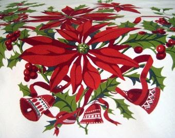 "Vintage Wilendure Christmas Tablecloth Poinsettias Bells Holly, Heavy Cotton 67"" X 52.5"""