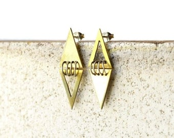 Mismatched earrings, Mismatched studs earrings, Asymmetric earrings, Triangle earrings, sterling silver and brass earrings,