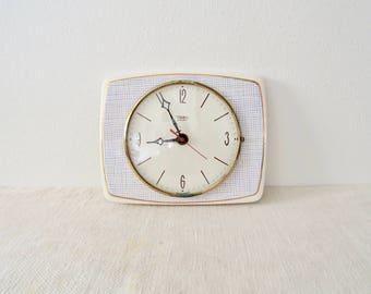 Vintage Diehl Electro White Ceramic Wall Clock