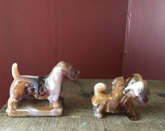 Pair- Vintage Imperial Glass Slag Glass Dogs- Scottish Terrier