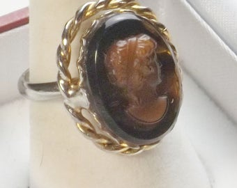 Vintage 1960's Gold & Silver Tone Poured Glass Brown Rootbeer Cameo Adjustable Ring Costume Jewelry Mid Century Gift For Her on Etsy
