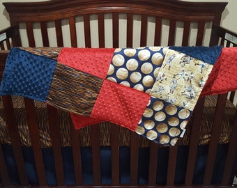 Baby Boy Crib Bedding - Who's On First Vintage Navy Baseball Crib Baby Bedding Ensemble with Patchwork Blanket
