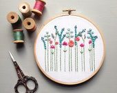 "Modern Embroidery Aqua and Coral Floral 6"" Hoop Art - Ready to ship, Hand Embroidered, Wildflowers, Needlework, Baby Shower Gift, Nursery"