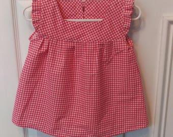 2T Lovely Pink Gingham Toddler Dress 100% Cotton Designer Fabric