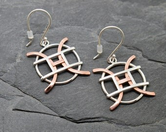 Pisces Gemini zodiac earrings sterling silver and copper