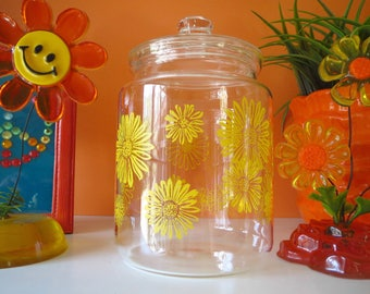 Vintage 1970s Retro Groovy Flower Power Yellow Daisy Glass Storage Jar Canister Lid