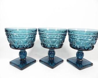 Mid Century Blue Colony Park Lane Sherbet Champagne Glasses - Set of 3 Colony Park Lane Champagne Glasses