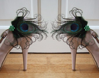 """Bridal Peacock Feathers Deep Forrest Green Shoe Clips / Bag Clips """"Allana"""" (Pair) - 2 Days To Make - Bride Bridesmaid Mother of the Bride"""