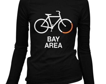 Women's Bike Bay Area Long Sleeve Tee - S M L XL 2x - Ladies' T-shirt, Gift For Her, Girl, Bay Area Cycling Shirt, San Francisco, San Jose