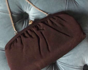 CHOCOLATE brown CLUTCH PURSE convertible evening bag vintage
