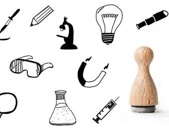 Technology Tiny rubber stamp, chemistry rubberstamps for students, physics rubberstamps for boys, scientists rubber stamp