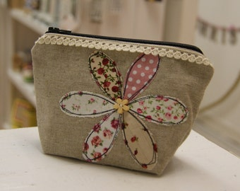 Handmade cosmetic bag - purse - made in the UK