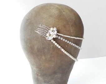 Cherish Pearl and Crystal Triple Row Wedding Hair Drape
