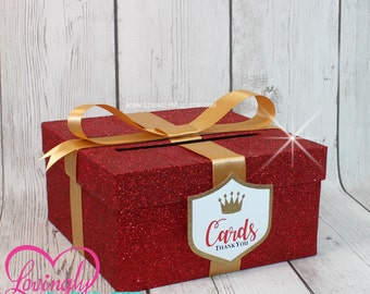 Card Box in Fine Glitter Red, White & Gold with Matching Prince Shield Tag - Baby Shower, Wedding, Bridal Shower, Birthday, Bar Mitzvah