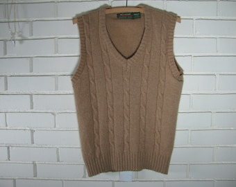 Vtg Men's tan cable knit wool vest size S