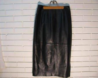 Vtg black leather long wiggle skirt size 6 waist 28''
