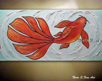 "KOI Fish Painting, Original Abstract Textured Large Artwork, Modern Fish Painting, Decorative Accents, Home Office Decor 24"" x 48"" by Nata S"