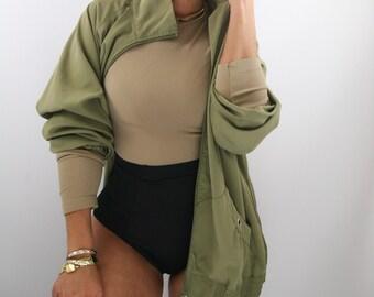 1990s oversized green winvreaker jacket medium - xl