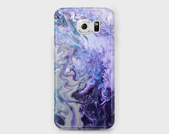 Purple & White Samsung Phone Case - Amethyst Purple Blue and Silver Abstract Unique Samsung Phones - Galaxy S4/S5/S6/S7 Edge Ace