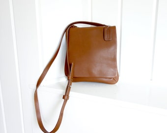 Vintage  1980s Classic Shoulder Leather Coach  Nutmeg Whiskey Brown  Legacy Crossbody Bag Made in USA