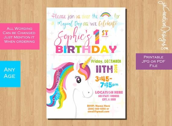unicorn invitation unicorn birthday invitation girl birthday