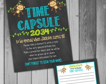 Time Capsule First Birthday Printable Time Capsule Birthday Time Capsule Monkey Birthday Party Monkey Party Printable Birthday Boy Birthday