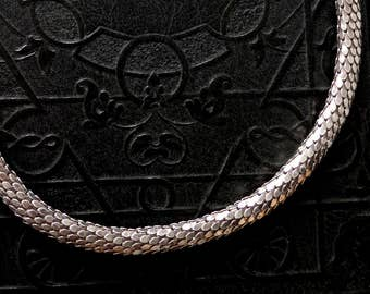 Sterling Snake Choker. Silver Scales. 16.5 inch to 17 inch stretch.