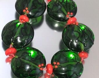 Holly Lampwork Bead Set