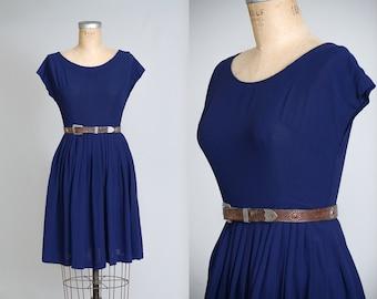 60s Nautical Blue Swing Dress Boat Neck Sailor Girl Dolly Dress