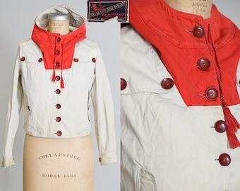 1920s Ski Jacket Bakelite Buttons Slalom Ski Wear Hooded Cropped Winter Parka