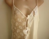 SALE -Long Ivory Nightgown Negligee fancy lace sexy  lingerie L