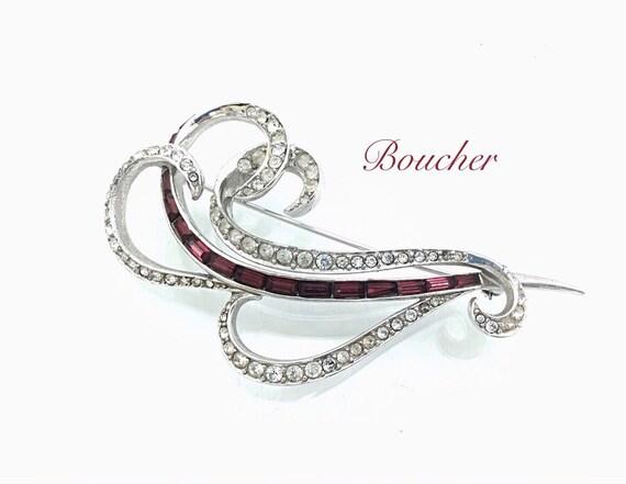 "Vintage Designer Brooch, Marcel Boucher Brooch, 1940s Stunning Large Vintage Swirl Brooch Jewelry, Red Pave Rhinestones. 4"""