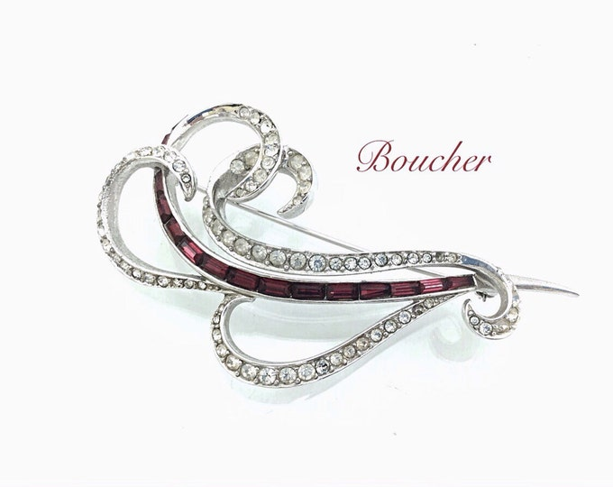 Vintage Designer Brooch, Marcel Boucher Brooch, 1940s Stunning Large Vintage Swirl Brooch Jewelry, Red Pave Rhinestones. 4""
