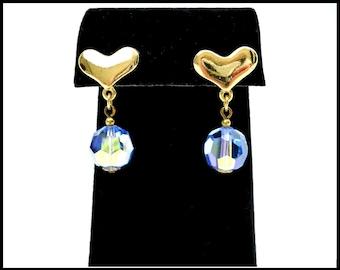 Blue AB Crystal Earrings, Sky Blue Aurora Borealis, Pierced Gold Heart Earrings, Designer Laguna, Gift for Teenager, Gift For Her