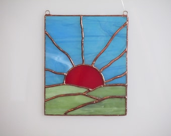 Stained Glass Sunrise Sunset Suncatcher - Price Includes Shipping