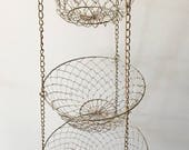 Old Kitchen 3 Tiered Hanging Mesh Wire Baskets...Vintage Basket