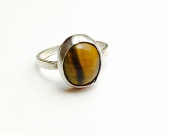 Vintage Tigers Eye Ring Size 7, Oval Stone, Silver, Clearance Sale, Item No. S288