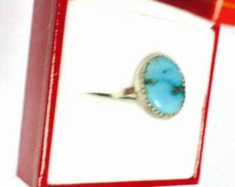 Vintage Turquoise Silver Ring size  7, Oval shape Stone, Native design, Item No. S173