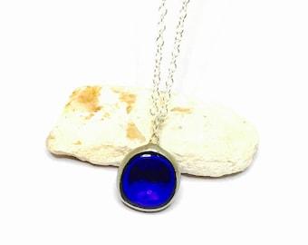 Vintage Blue Glass pendant/Necklace  Silver/Silver plated, boho design, item No S785