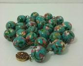 Cloisonne Necklace, Les Bernard. 15-mm Round Beads, large size beads. Vintage.
