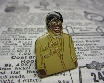 Vintage Michael Jackson Lapel Pin Original 1980s Era Retro Pop Music Metal Hat Pin vtg 80s MJ King of Pop Jacket Coat Button Pin